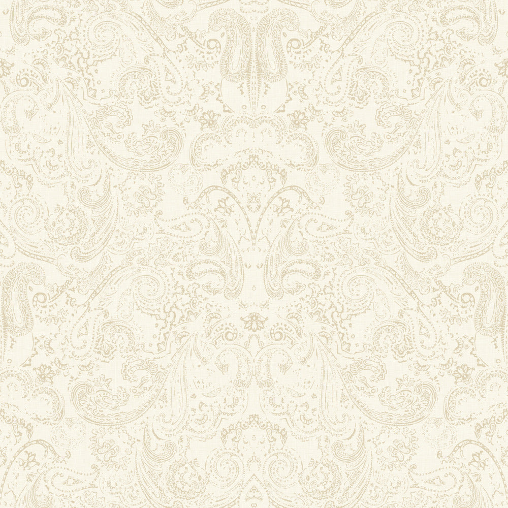 Patina Vie Distressed Paisley Wallpaper - Beige/White