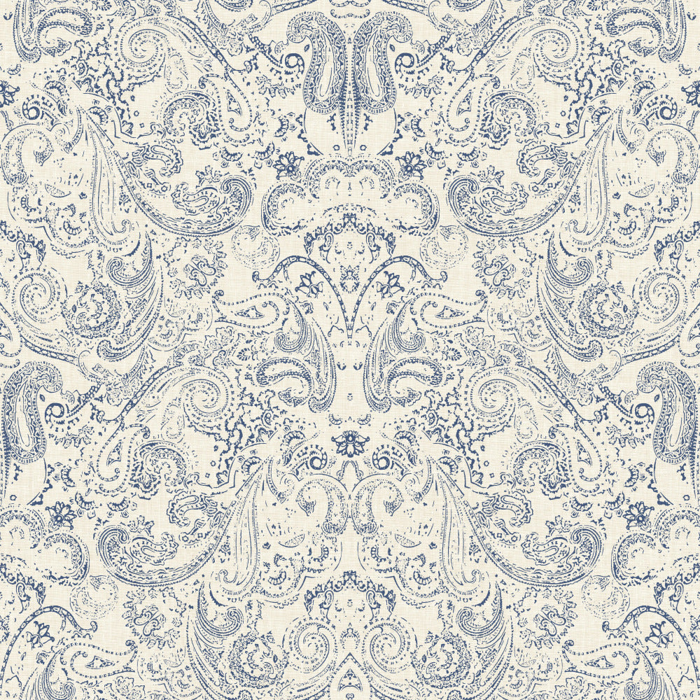 Patina Vie Distressed Paisley Wallpaper - Navy on White