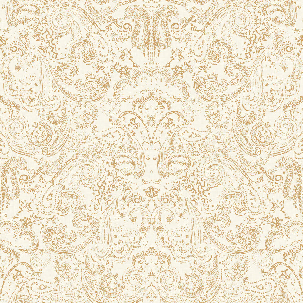 Patina Vie Distressed Paisley Wallpaper - Gold/White