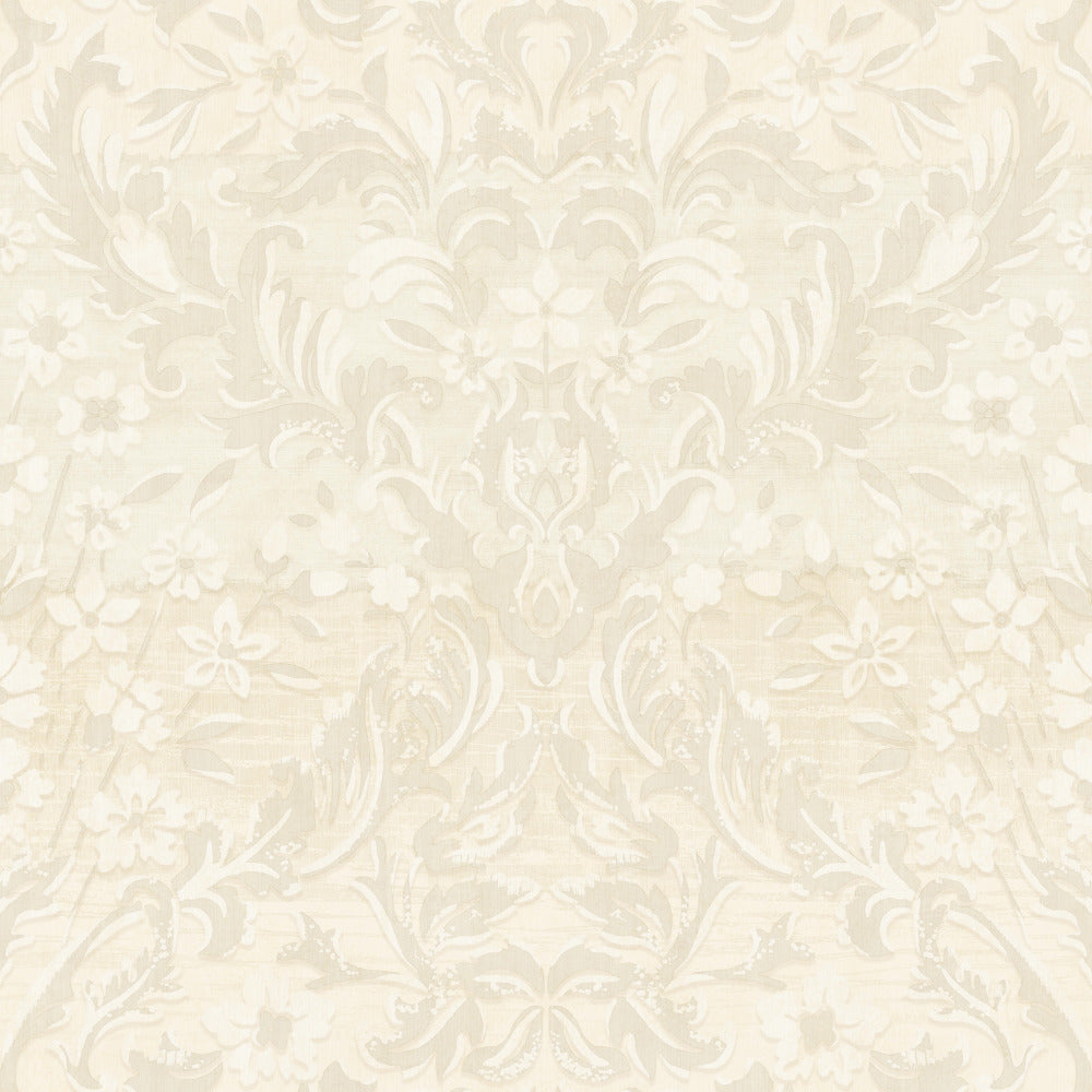 Patina Vie Zara Damask Wallpaper - Beige