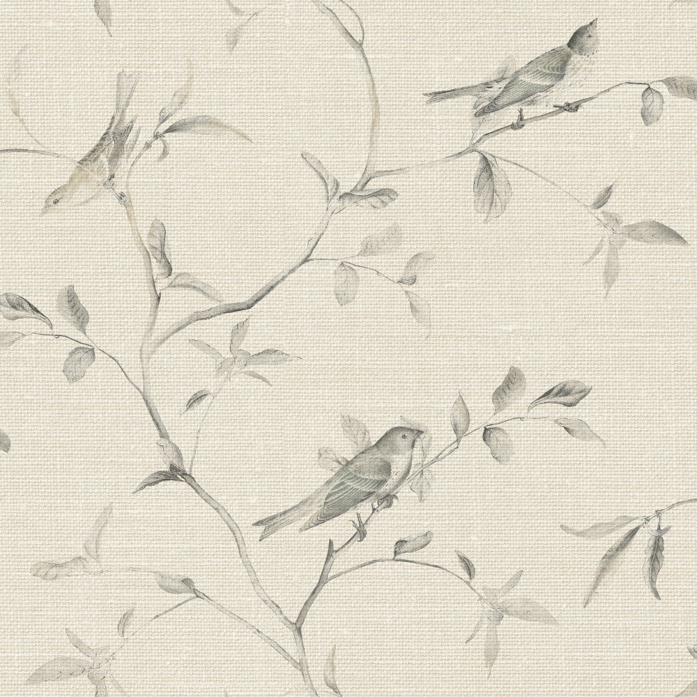 Patina Vie Birds of a Feather Wallpaper - Khaki