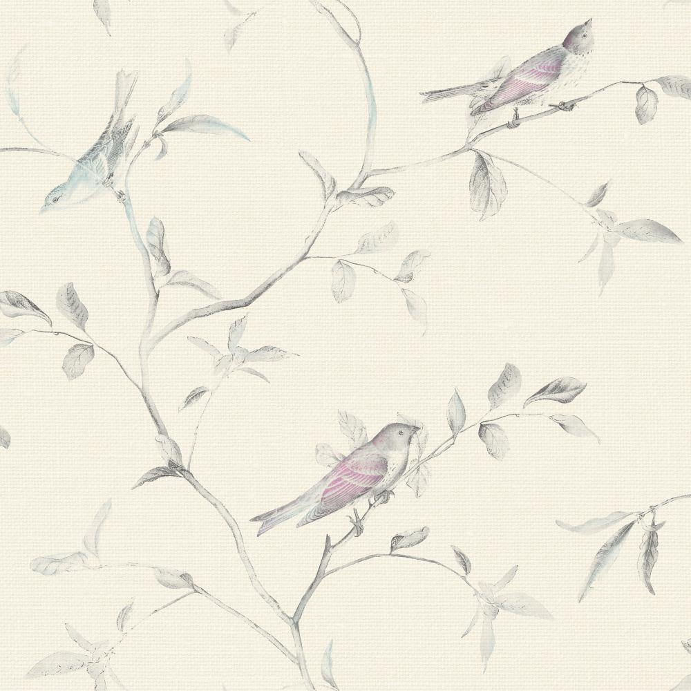 Patina Vie Birds of a Feather Wallpaper - Fuchsia/Teal