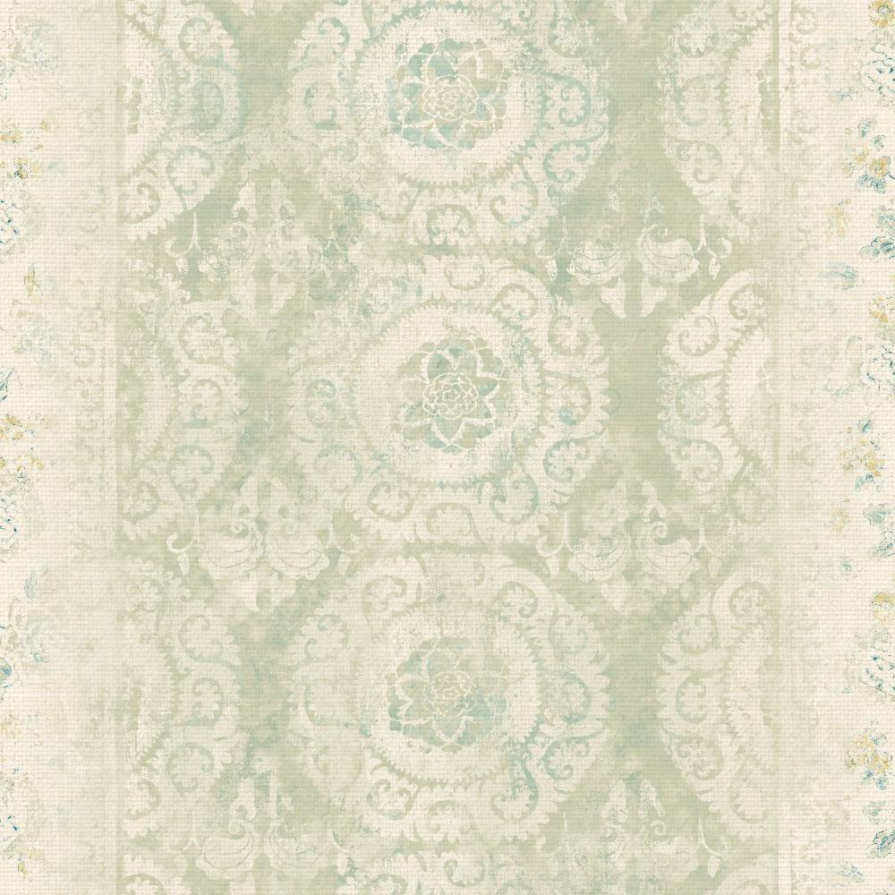 Patina Vie Mandala Stripe Transition Wallpaper - Sage - Patina Vie