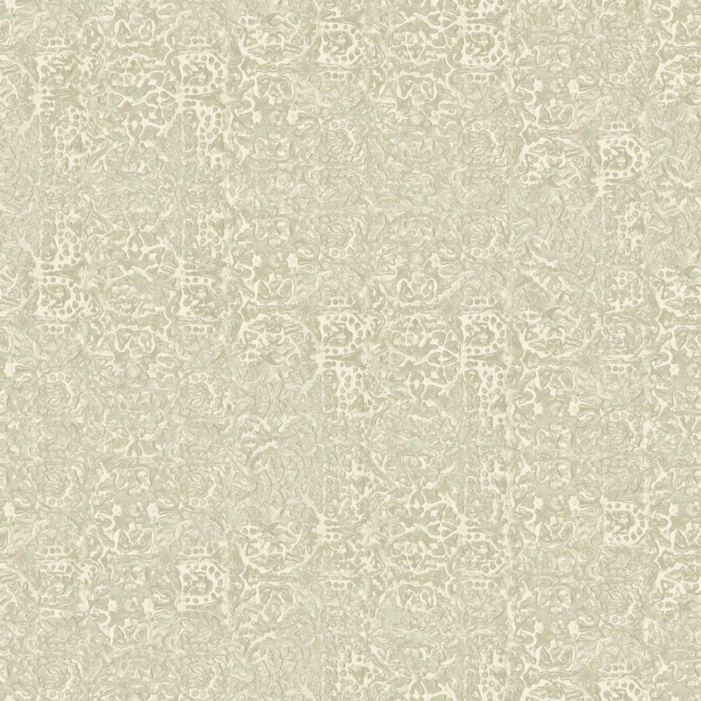 Patina Vie Metalwork Emboss Wallpaper - Sage/Grey - Patina Vie