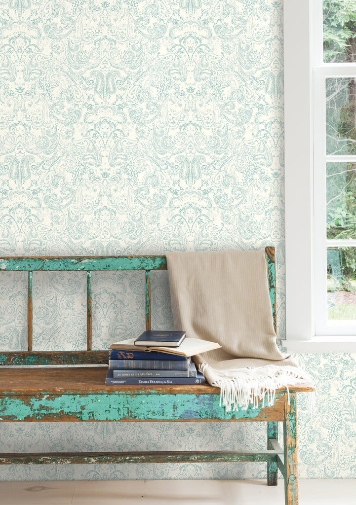Patina Vie Distressed Paisley Wallpaper - Aqua/White