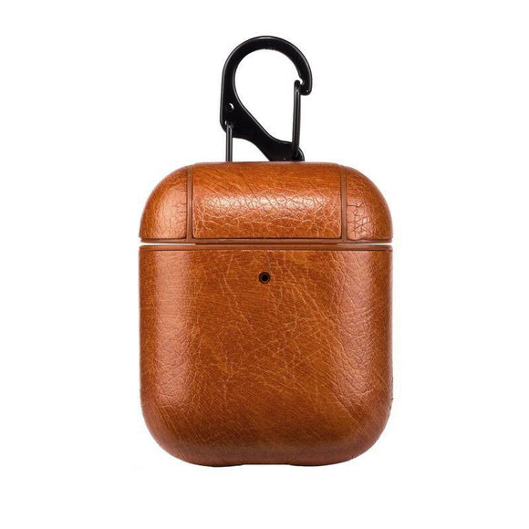 Brown faux leather airpod case that fits AirPods 1 and Airpods 2