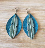 Closer view of Patina Leaf Earrings.