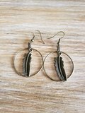 Closer view of Hoop and Leaf Earrings