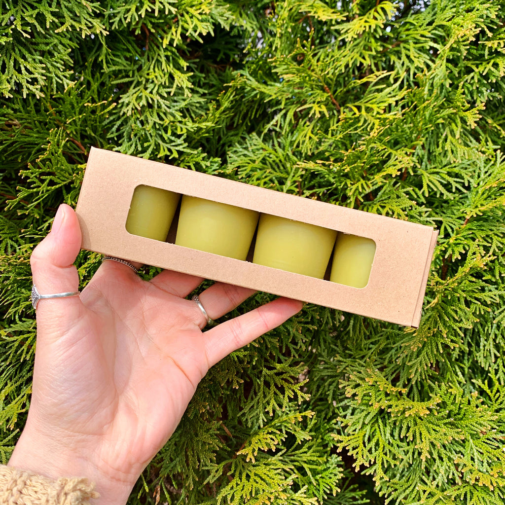 Naturally Dyed Moss Beeswax Votives