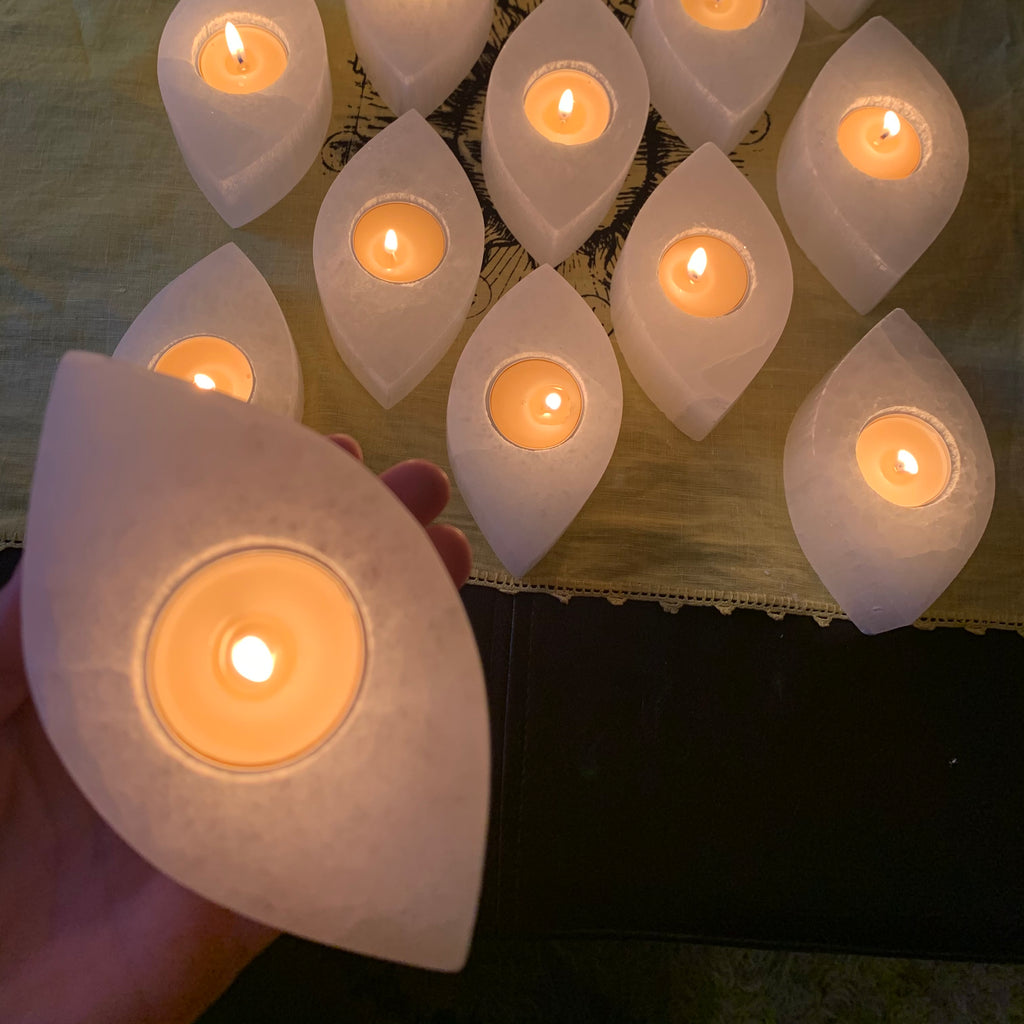 Selenite Eye Candle Holder