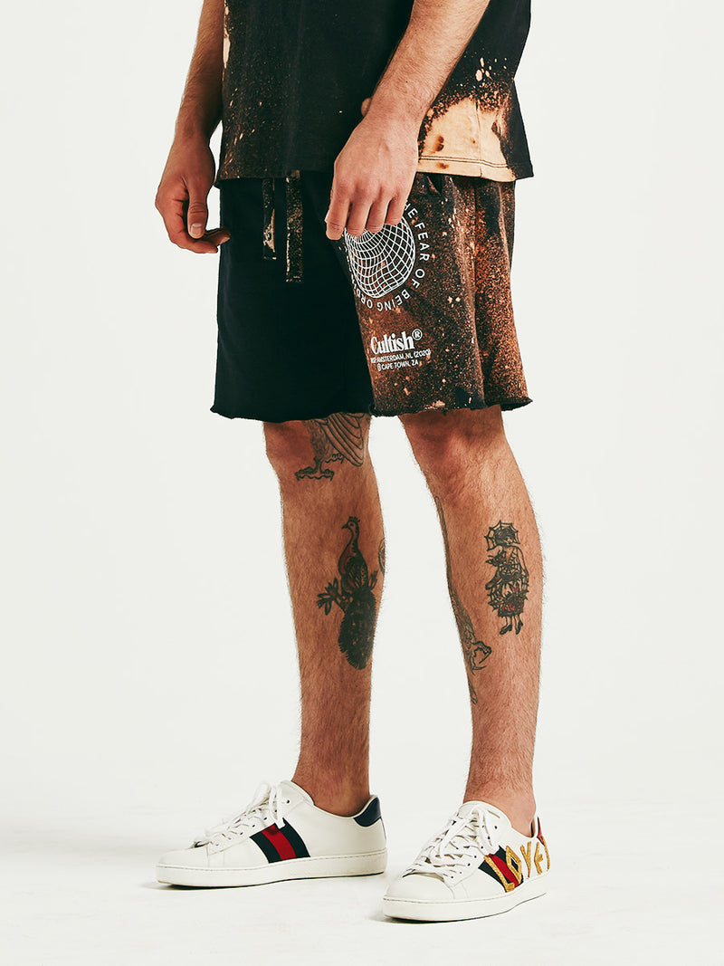 Exclusive Bleach-Treated Warped Globe Sweatshorts