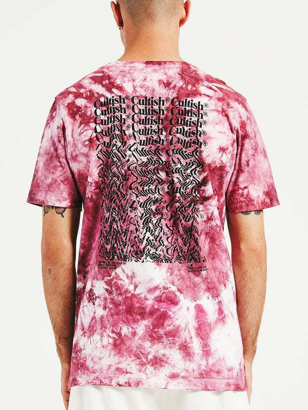 Exclusive Cerise Tie-Dye Stacked C® Logo R/F T-Shirt