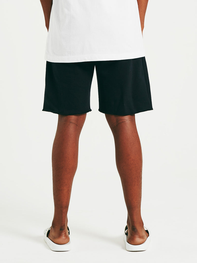 Black Warped Globe Sweatshorts