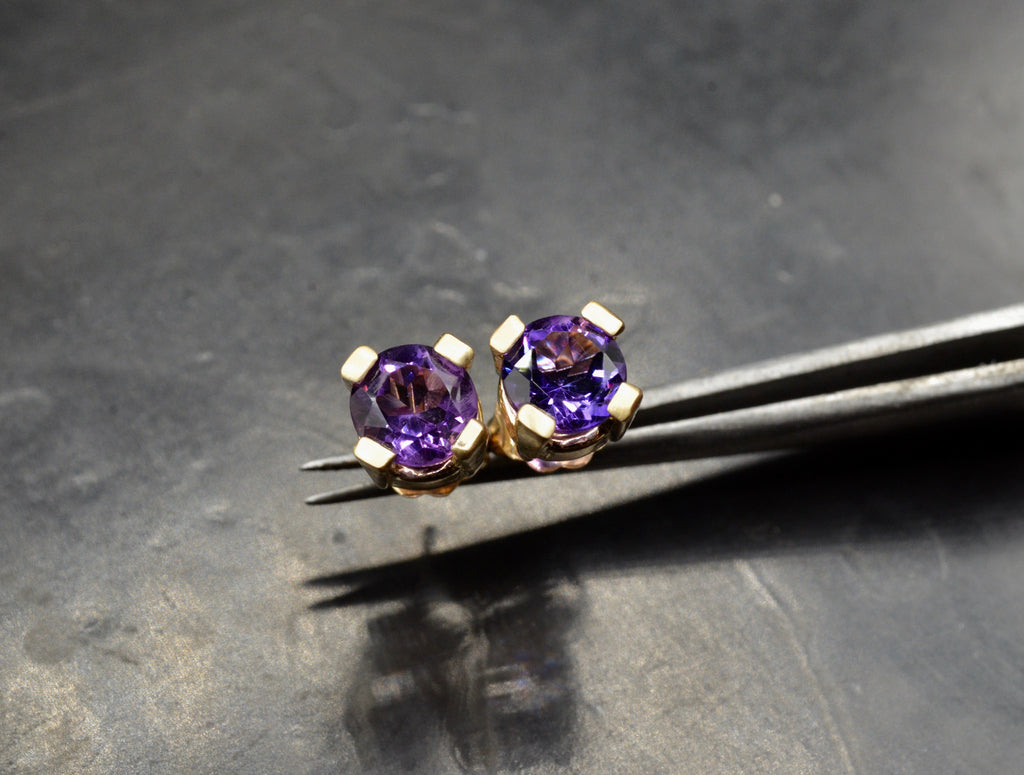 Emilia Amethyst Stud Earrings