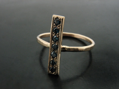 Yellow Gold Bar Ring with Blue Diamonds