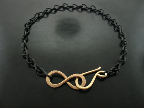 Black Chain with S Clasp and Infinity Link Necklace