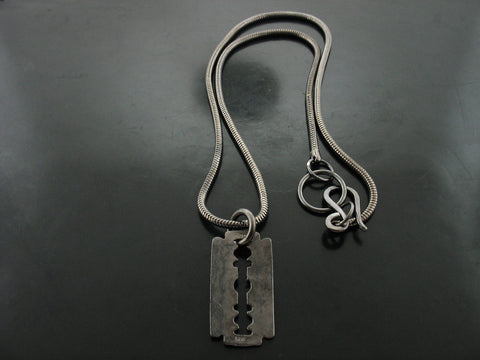 Black Gold Dipped Distressed Razor Necklace