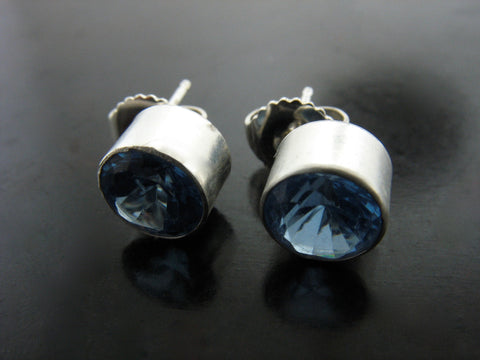 Blue Crystal Stud Earrings in Bezel