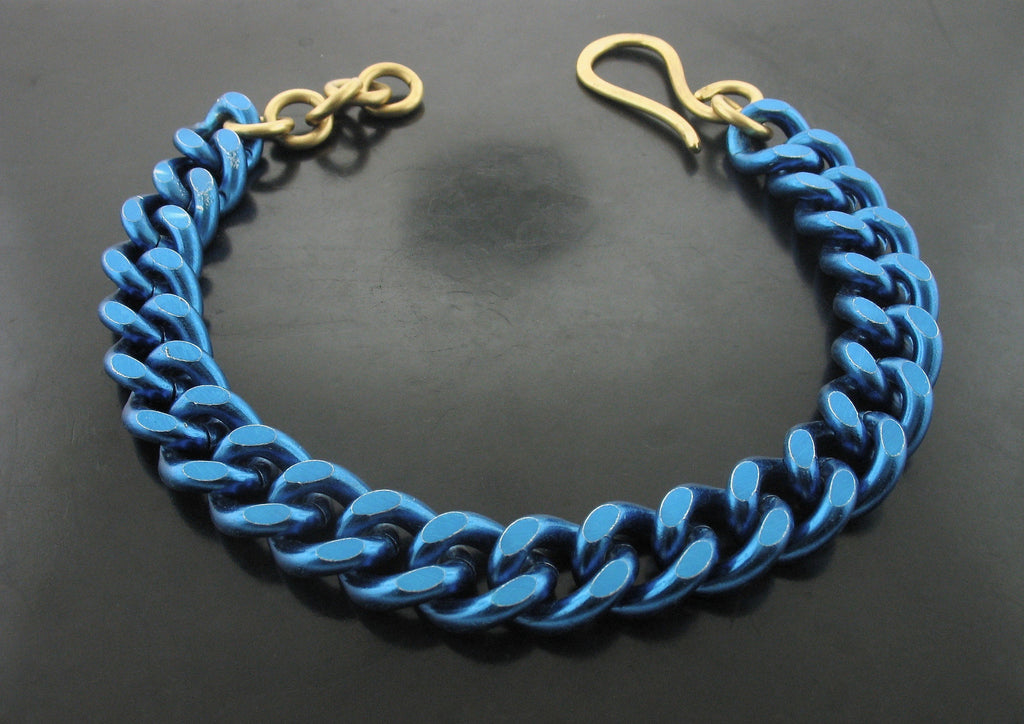 Blue Curb Link Chain Necklace with Yellow  Bronze Clasp