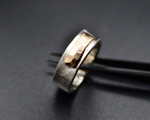 ISHA'S RING STERLING SILVER AND YELLOW GOLD 6MM WIDE
