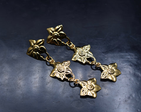 Flower Link Earrings- Yellow Gold