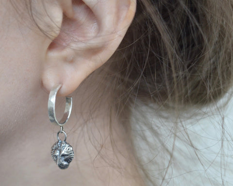 LION HEAD HOOP EARRING