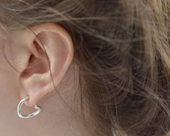 sterling silver contour studs spheric handmade