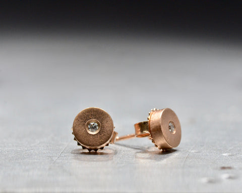 Rose Gold White Diamond Studs