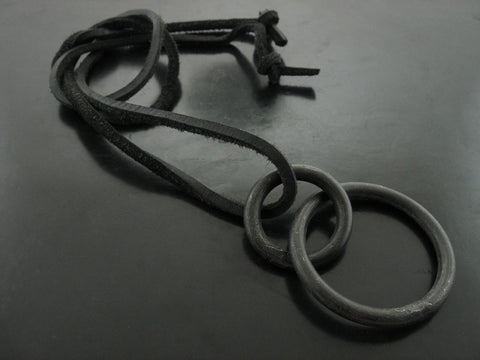 Double Circle Necklace On Leather