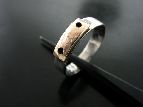 Yellow Gold Bar Across Hammered Double Tone Ring