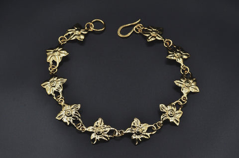 Flower Link Necklace - Yellow Gold