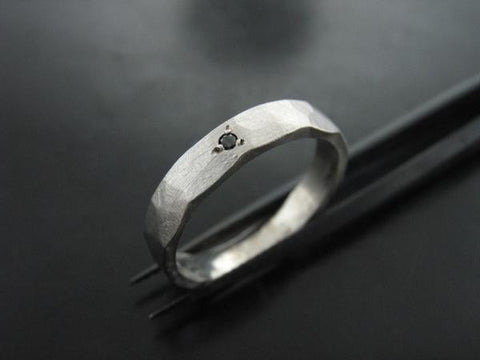 Zeus Ring- White Gold & Black Diamond