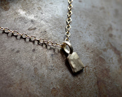 Rectangular Forged Charm Necklace- Yellow Gold