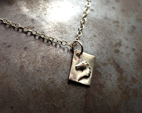 Horse Head Charm - YELLOW GOLD