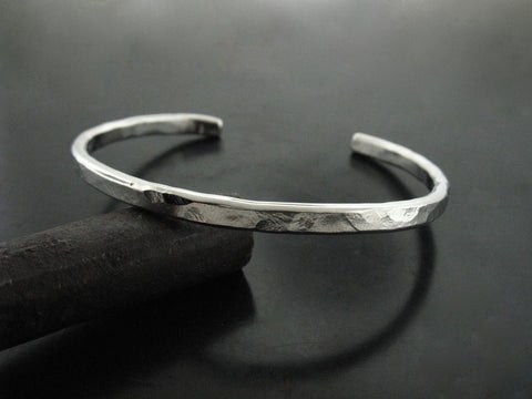 Hammered Cuff #2 - White Gold
