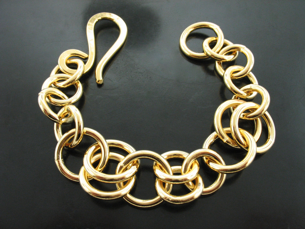 Baltic Single Double Uniform Link Bracelet - Yellow Gold