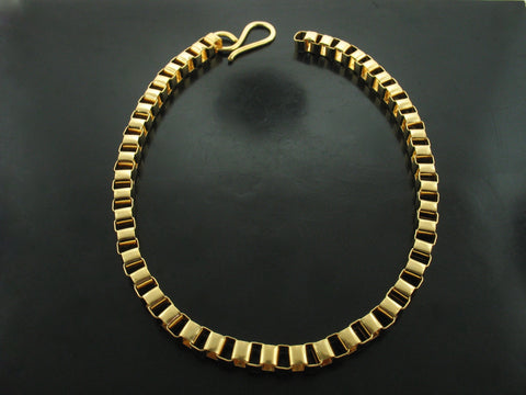 Baltic Cube Link Necklace - Yellow Gold