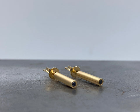 Bolt Studs - Yellow Gold and Black Diamonds