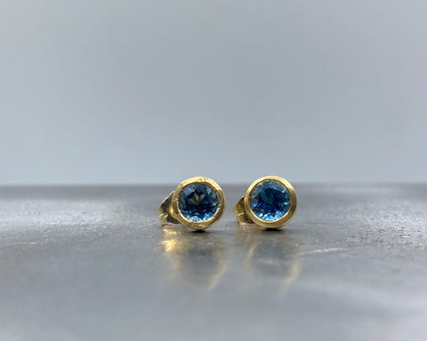 Midnight Blue Topaz Studs