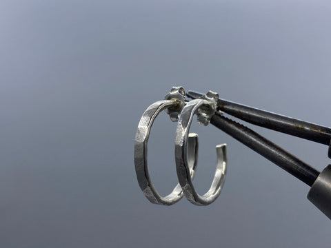 FORGED SIGNATURE HOOPS #2 STERLING SILVER