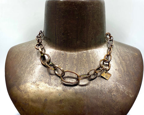 FREE STYLE MIXED LINK NECKLACE BRONZE