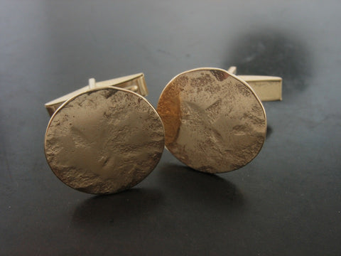 Cufflinks: Hammered Round Cufflinks, Gold
