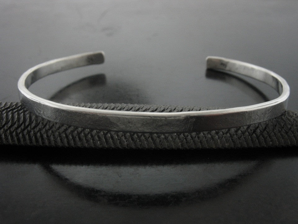 Narrow Hand Forged  Sterling Silver Cuff