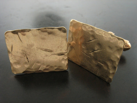 Cufflinks: Hammered Square Cufflinks, Gold