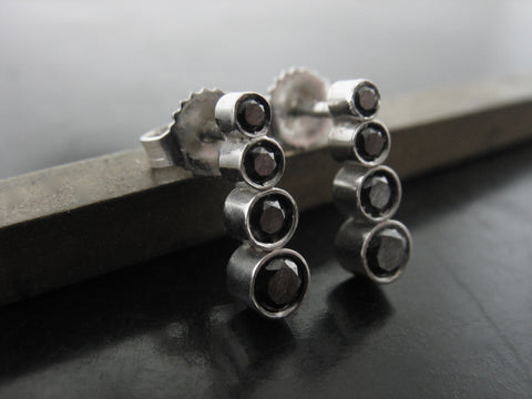 Ascending Black diamond studs - white gold