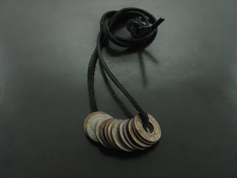 Flat Monk Links on Black Leather Necklace