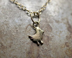 Logo Bird Charm Necklace- Yellow Gold