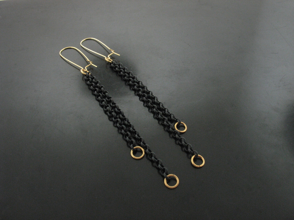 Double Black Chain Party Earrings