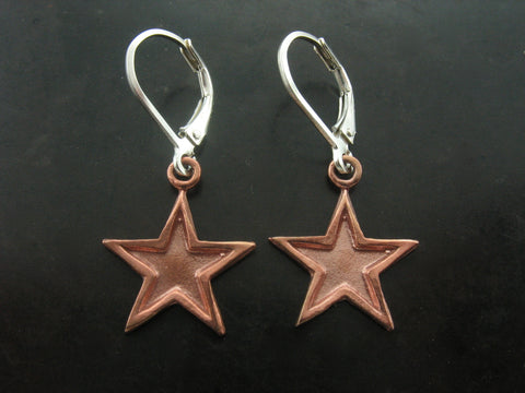 Double Tone Star Earrings