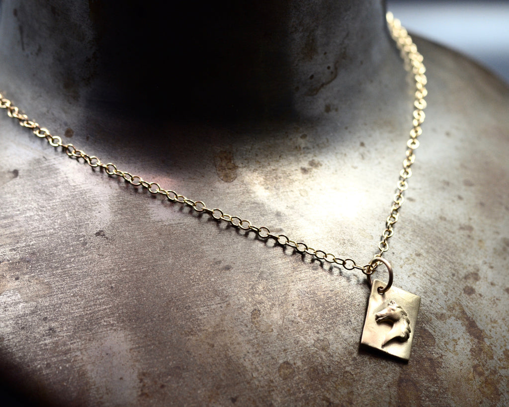 Horse Head Charm Necklace- Yellow Gold